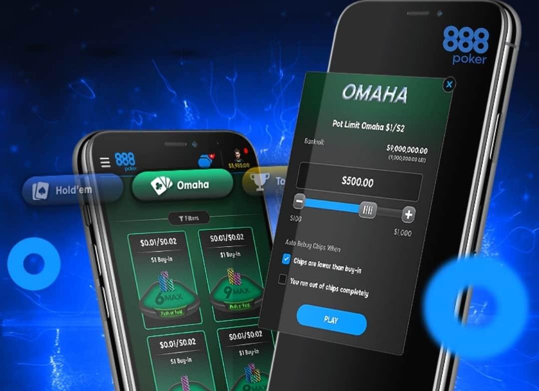 Омаха в мобильном клиенте 888poker